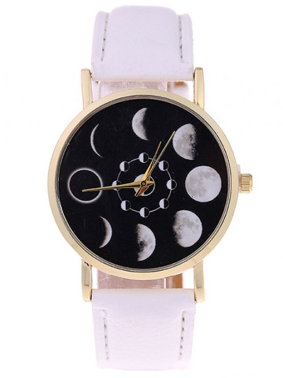 Lunar Eclipse Faux Leather Quartz Watch - WHITE  Mobile