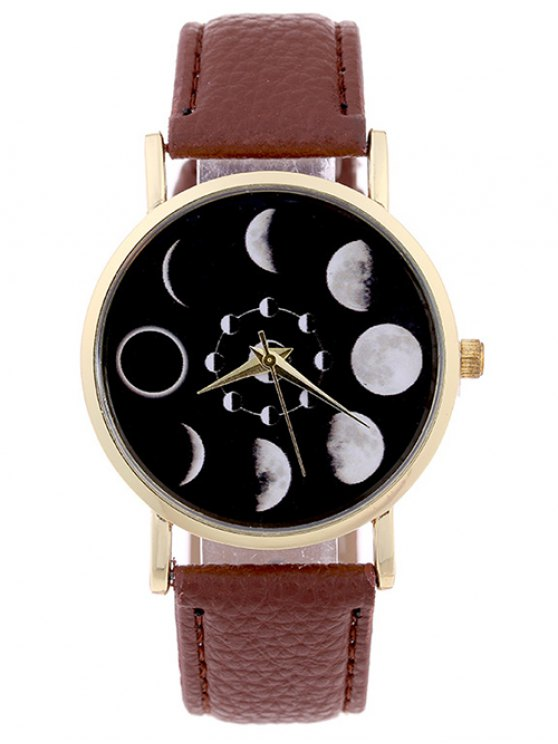 chic Lunar Eclipse Faux Leather Quartz Watch - BROWN