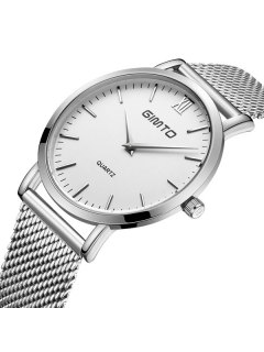 GIMTO Vintage Steel Band Quartz Watch - Silver