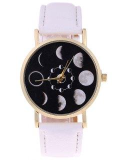 الكسوف القمرية فو جلدية كوارتز ساعة - أبيض