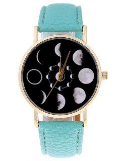 Lunar Eclipse Faux Leather Quartz Watch - Mint Green