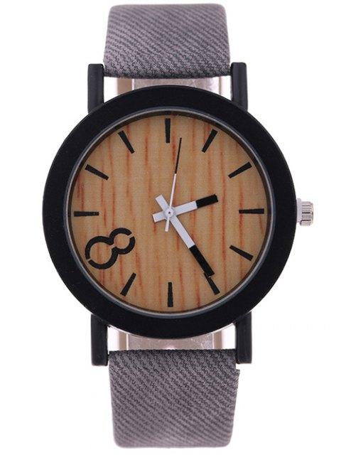 fashion Wood Grain Faux Leather Quartz Watch - GRAY  Mobile