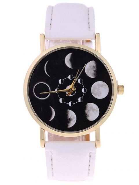 fashion Lunar Eclipse Faux Leather Quartz Watch - WHITE  Mobile