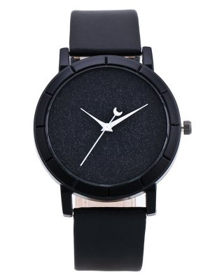 PU Leather Baby Breath Moon Quartz Watch - Black
