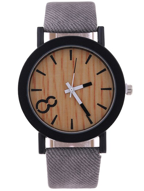 Wood Grain PU Leather Quartz Watch