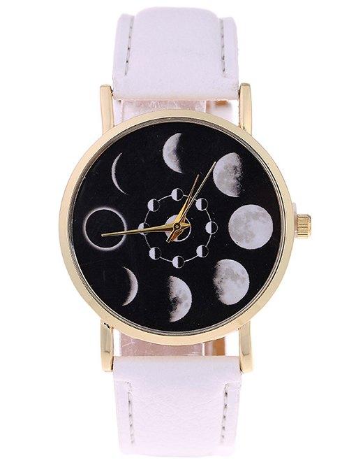 Faux Leather Lunar Eclipse Quartz Watch