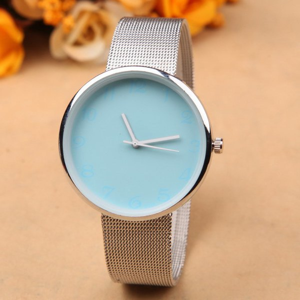 Alloy Circle Dial Plate Quartz Watch