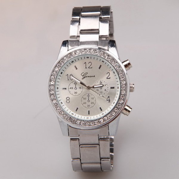 Circle Dial Plate Rhinestone Steel Band Watch