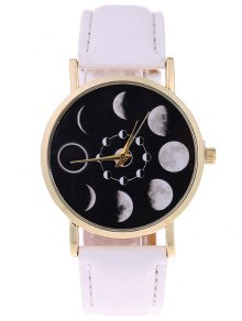 Lunar Eclipse Faux Leather Quartz Watch - White