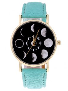 Lunar Eclipse Faux Leather Quartz Watch - Mint Green