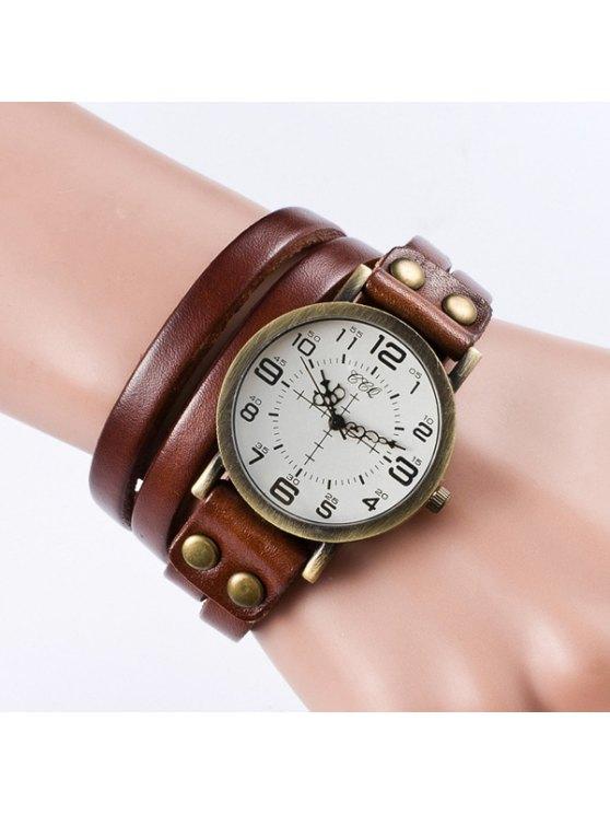 unique Vintage Faux Leather Bracelet Watch - LIGHT BROWN