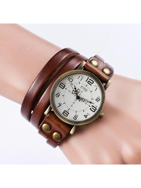 unique Vintage Faux Leather Bracelet Watch - LIGHT BROWN  Mobile