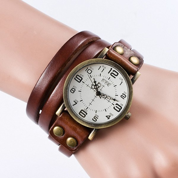 Vintage Faux Leather Bracelet Watch