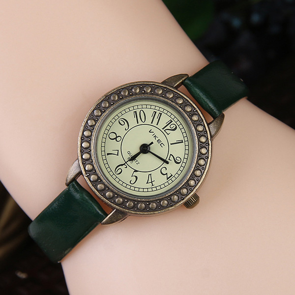 Faux Leather Alloy Watch