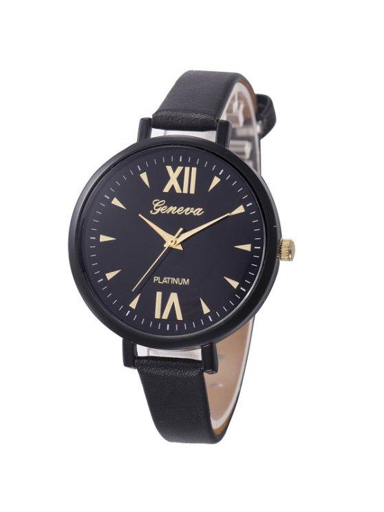 Roman Numerals Geometric Quartz Watch - BLACK  Mobile