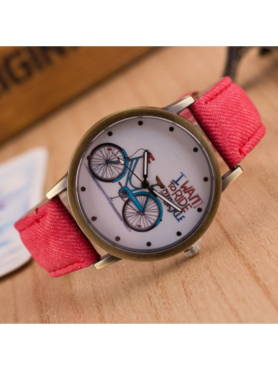 Bicycle Pattern Artificial Leather Quartz Watch - RED  Mobile