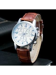 Analog Dial Plate PU Leather Quartz Watch - Coffee
