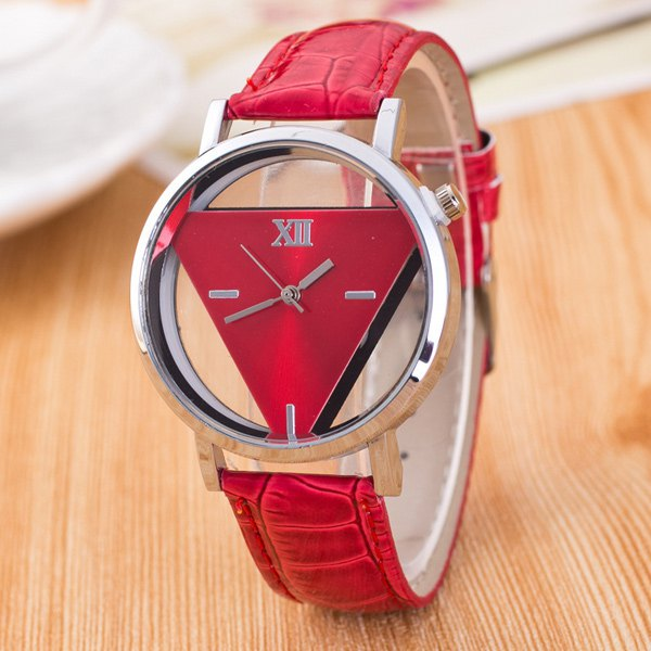 Vintage Faux Leather Triangle Quartz Watch