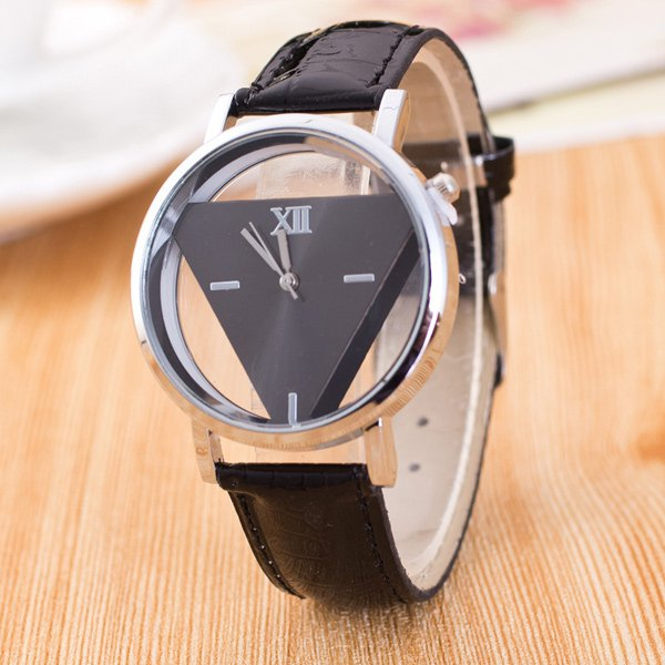 Vintage Faux Leather Triangle Quartz Watch