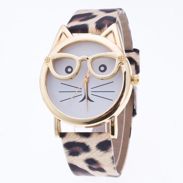 PU Leather Kitten Quartz Watch