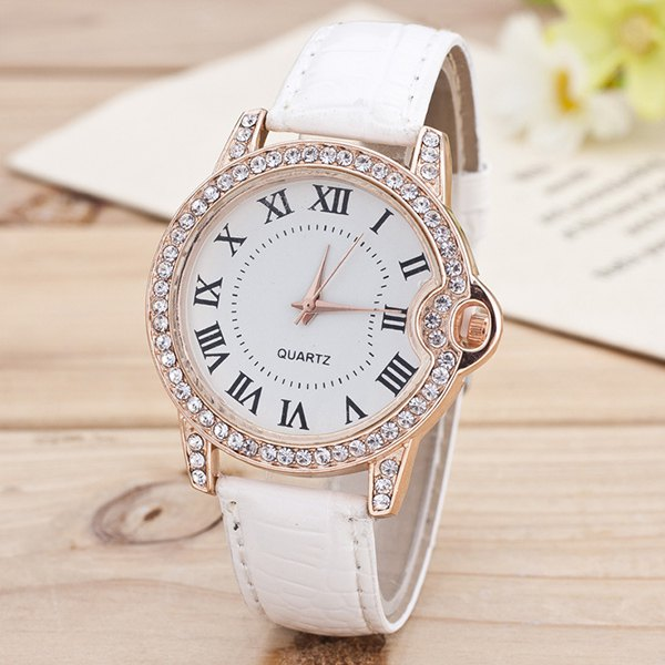 Roman Numerals Rhinestone Quartz Watch