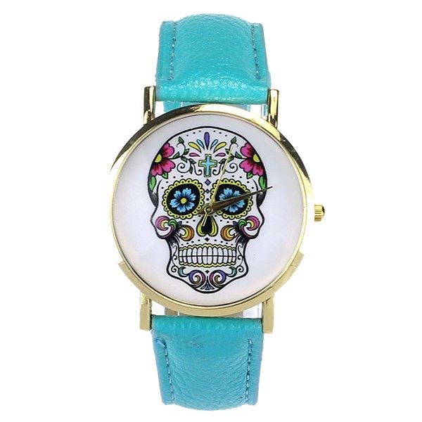Crucifix Skull Flower Halloween Quartz WatchAccessories<br><br><br>Color: BLUE