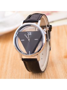 Vintage Faux Leather Triangle Quartz Watch - Black
