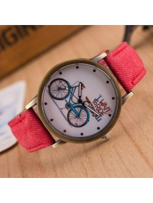 Bicycle Pattern Artificial Leather Quartz Watch