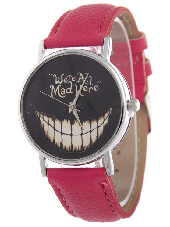 PU Leather Grinned Halloween Quartz Watch - ROSE RED  Mobile