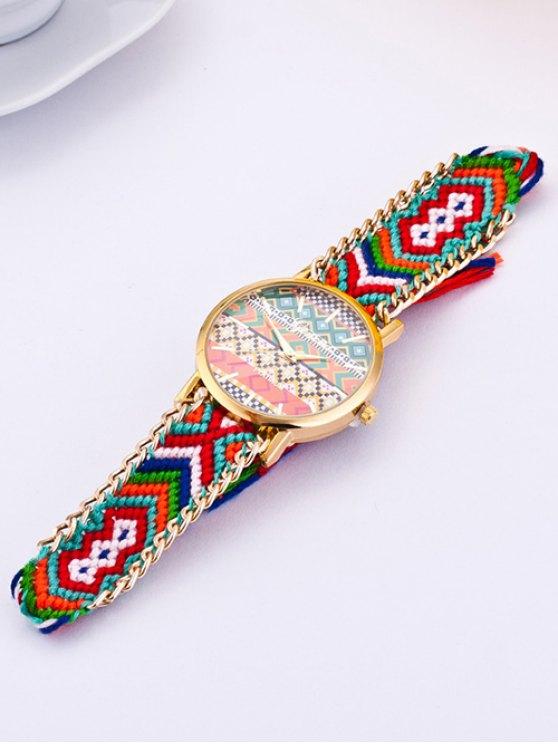 GENEVA Geometric Pattern Quartz Braid Watch - GREEN  Mobile