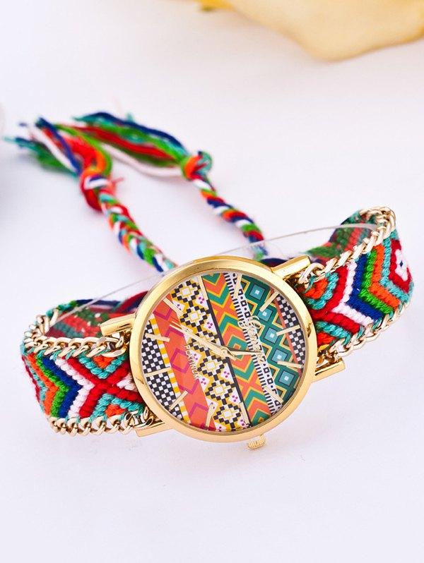GENEVA Multicolor Geometric Pattern Quartz Braid Watch