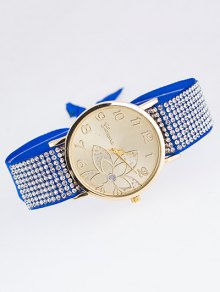 Ribbon Rhinestone Flower Quartz Watch