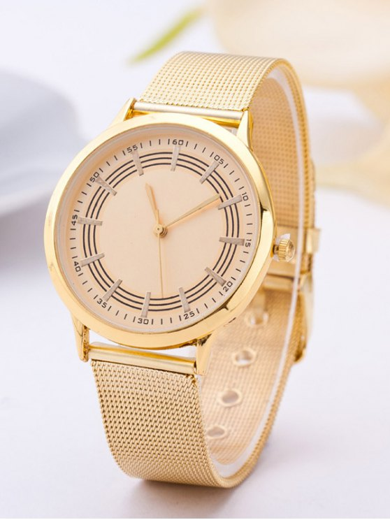 Circle Dial Plate Steel Band Watch - GOLDEN  Mobile