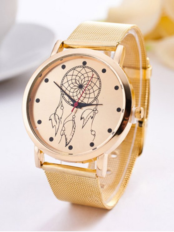 fancy Steel Band Circle Floral Quartz Watch - GOLDEN