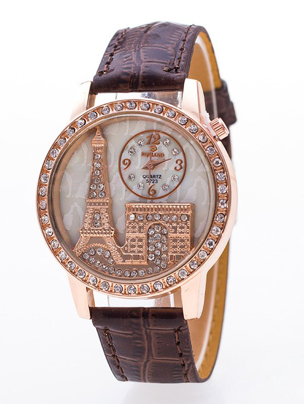 Eiffel Tower Triumphal Arch Rhinestone Watch