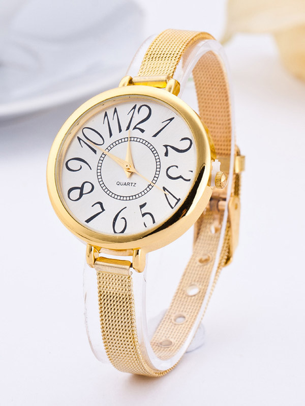 Big Circle Dial Plate Quartz Watch