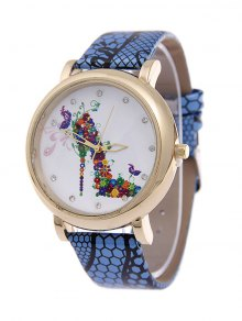 Flower Rhinestone High Heel Quartz Watch - Blue