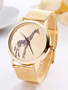 Steel Band Giraffe Quartz Watch - Golden