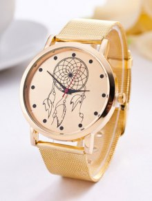 Steel Band Circle Floral Quartz Watch