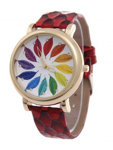 Multicolored Tree Leaf Rhinestone Quartz Watch - Red