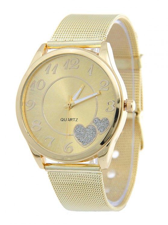 shops Alloy Band Heart Analog Quartz Watch - GOLDEN
