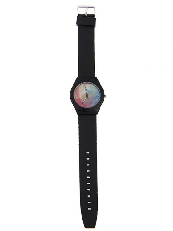 Starry Sky Pattern Quartz Silicone Watch - BLACK  Mobile