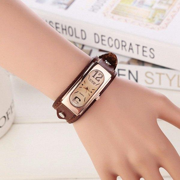 Faux Leather Geometric Wrist Bracelet Watch