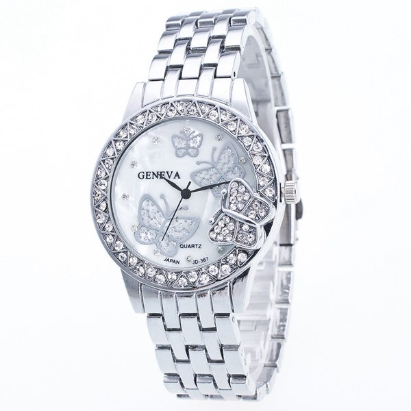 Rhinestone Butterfly Steel Band Quartz Watch