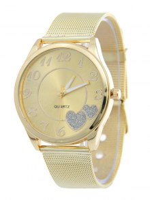Alloy Band Heart Analog Quartz Watch