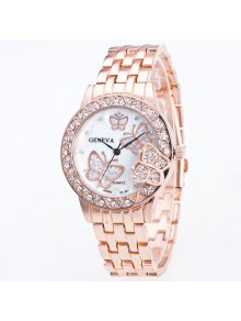Buy Rhinestone Butterfly Steel Band Quartz Watch - ROSE GOLD