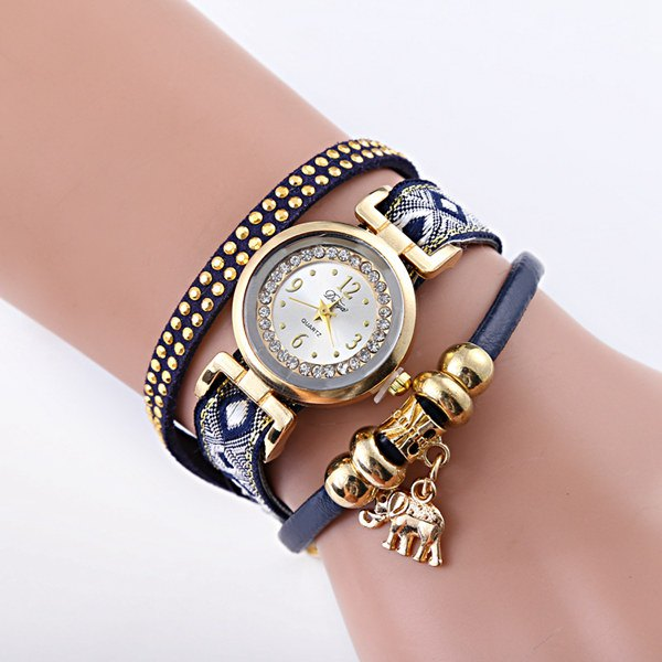 Faux Leather Rhinestone Elephant Bracelet Watch
