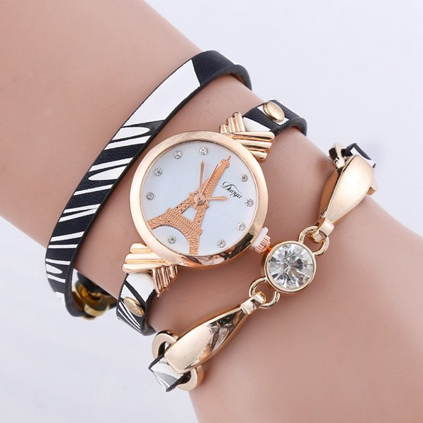 PU Leather Rhinestone Eiffel Tower Bracelet WatchAccessories<br><br><br>Color: WHITE