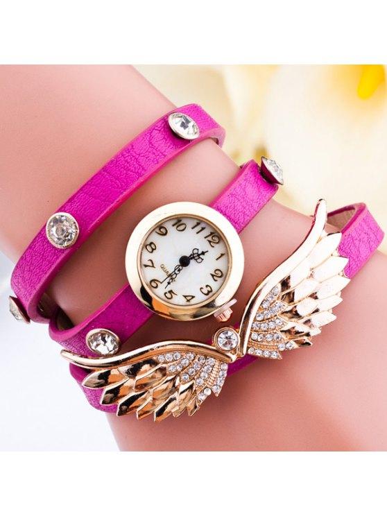 best Rhinestone Angel Wings Wrap Bracelet Watch - ROSE RED