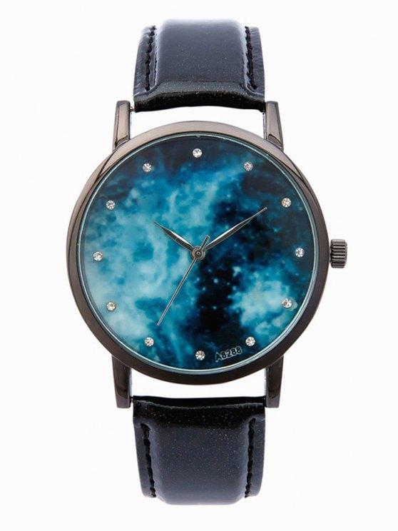 sale Vintage Starry Sky Rhinestone Quartz Watch - BLACK